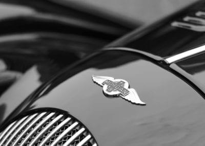 Morgan Plus 8 sports car detail with the Morgan logo